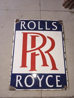 """ROLLS ROYCE PORCELAIN Sign SIZE 19.5"""" X 14"""" INCHES Pre-Owned"""