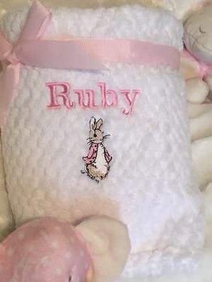 Personalised baby Blanket and/or  COMFORTER Taggy BLANKET..PETER RABBIT