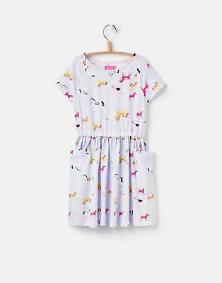 Joules 124626 Girls Short Sleeve T Shirt Dress with Capped Sleeve in Horse