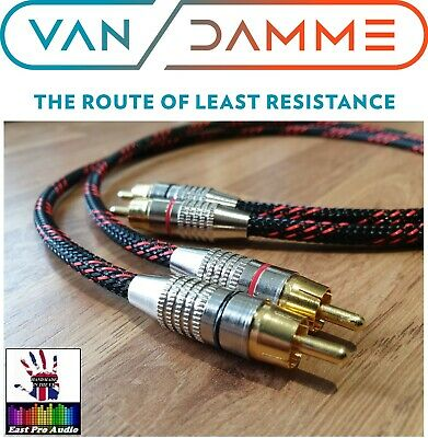 *LC-OFC* Van Damme/Gold RCA Phono Cable Black & Red braided 0.75m 75cm pair