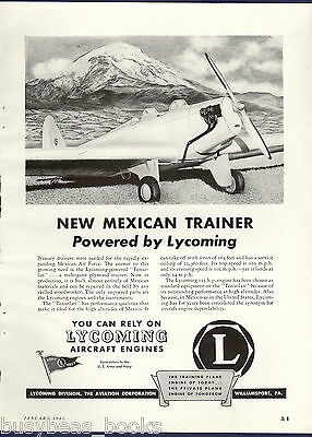 1943 LYCOMING advertisement, TEZIUTLAN Mexican trainer plane