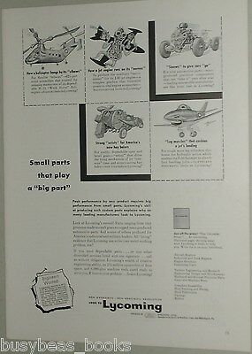 1954 LYCOMING ENGINES advertisement, Boris Artzybasheff art, 5 small paintings