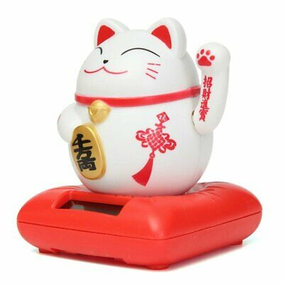 Solar Powered Maneki Neko Welcoming Lucky Beckoning Hands Waving Fortune Cat