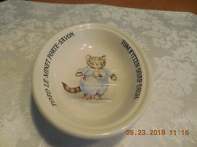 1986 BEATRIX POTTER Ironstone TOM KITTEN Soap Dish CRABTREE + EVELYN