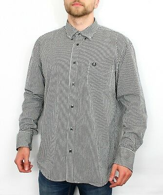 Mens Fred Perry Long Sleeve Casual Gingham Checked Shirt Black Size Large Summer