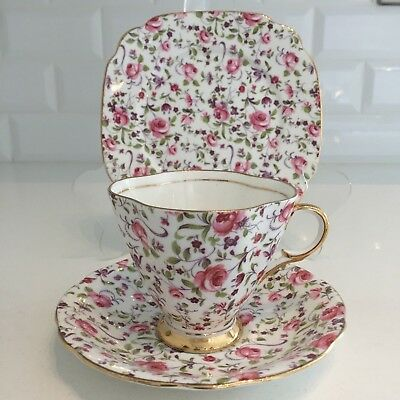 Pink Chintz Vintage Bone China Trio Tea Cup Saucer & Tea Plate Scalloped Windsor
