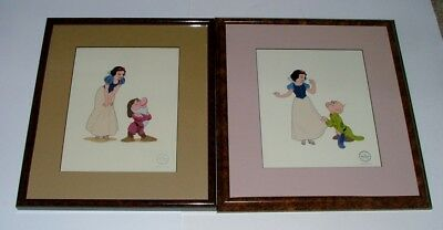 (2) Disney Framed & Matted Limited Ed. Sericels With Snow White & The 7 Dwarfs