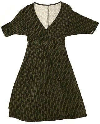 Maternity Dress Size Small Black And Green With Wrap Tie Stretchy Soft