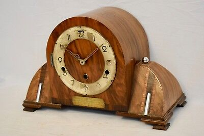 Impressive 1935 German Art Deco Walnut Westminster Chime Vintage Mantel Clock