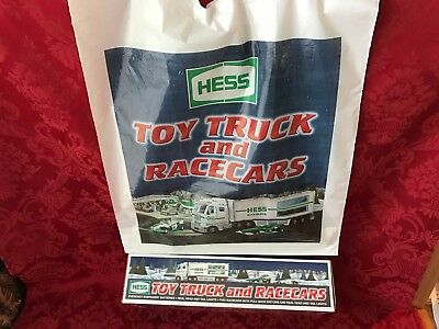 """2003 Hess """"toy Truck And Racercars"""" New In Box With Bag & (2) Indy Style Cars"""