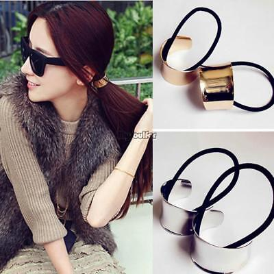 Chic Woman Girls Metal Elastic Ponytail Holder Hair Cuff Wrap Tie Band Rope MSF
