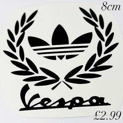 VESPA LAUREL ADIDAS  scooter decal in BLACK GLOSS  8cm 80mm