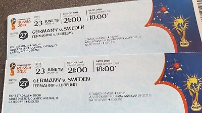 FIFA WM 2018 , 2 Tickets Deutschland - Schweden Category 1
