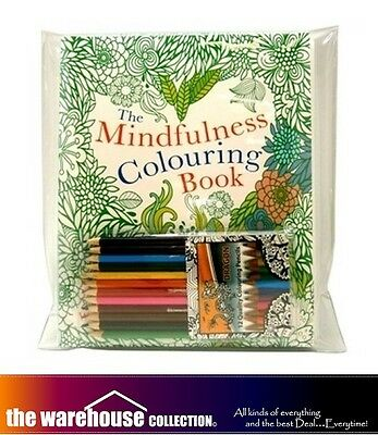 Mindfulness Adult Coloring Books Pack 3 Book Set 128 Pages +12 Colouring Pencils