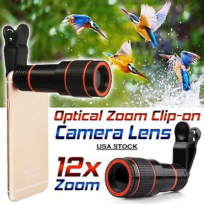 HD 12x Optical Zoom Clip on Camera Lens/Phone Telescope For Universal Cell Phone