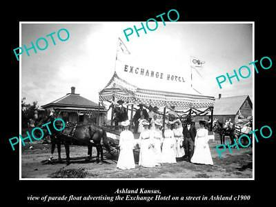 Old Large Historic Photo Of Ashland Kansas, The Exchange Hotel Parade Float 1900