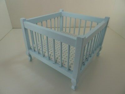 Dolls House Miniature 1:12th Scale Furniture Nursery Blue Wooden Playpen