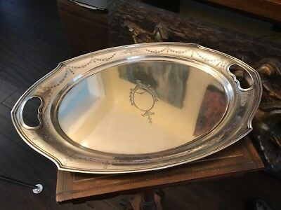 19th c. JS Co Sterling Silver Tray/Platter 589.7 Grams - Measures 14.5""