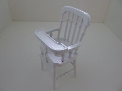 Dolls House Miniature 1:12th Scale Furniture Nursery White Victorian High Chair