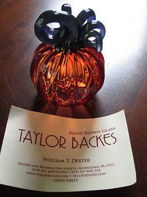 Beautiful Hand Blown GLASS PUMPKIN Signed TAYLOR BACKES Studio TwistyStem Unique