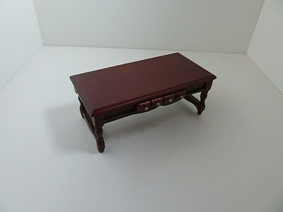 Dolls House Miniature 1:12th Scale Mahogany Wood Coffee Table Lounge Furniture