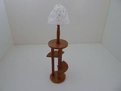Dolls House Miniature 1:12th Scale Furniture Lounge Walnut Shelf with Lamp
