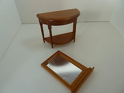 Dolls House Miniature 1:12th Scale Furniture Lounge Walnut Hall Table & Mirror