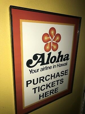 Aloha Hawaii Airlines Airport Pilot Throwback Framed Advertising Print Sign