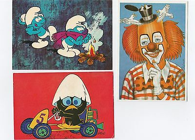Cp,  3 Pieces, Calimero, Les Schtroumpfs, Clown, Smurfen