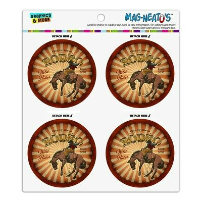 Rodeo Cowboy Vintage Horse Riding Bucking Refrigerator Fridge Circle Magnet Set