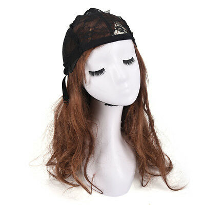 Weaving Wig Cap Adjustable Straps for Making Wigs Lace Mesh Stretchy BlackWQTY