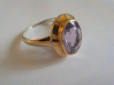Bague argent et OR massif   améthyste Vintage gold and silver ring with amethyst