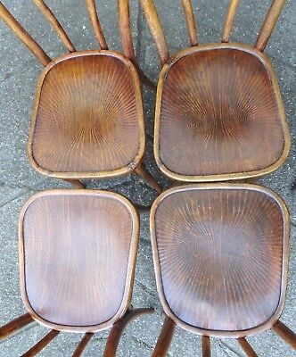 Lot de 4 Chaises Glaris Bistrot 1920, assises bois rares. (No Thonet)