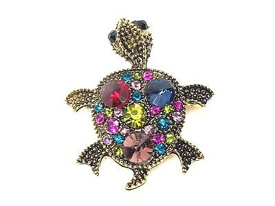 "Turtle Brooch pin multi color rhinestones 1.25""""x1.25"" GIFT gift gold tone #1A"