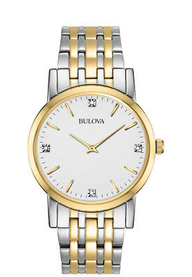 Bulova Men's 98D114 Quartz Quartz Diamond Markers Two-Tone Bracelet 38mm Watch
