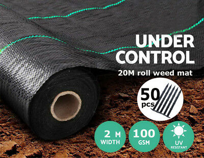 2m x 25m Garden Weed Control Fabric Barrier Membrane Cover with Free 50 Pegs