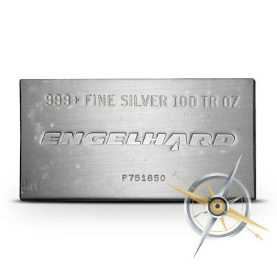 Engelhard 100 Troy oz .999 Fine Silver Bar