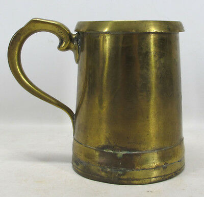 Antique 1800's English Polished Brass Ale Tankard Beer Stein Quart Measure yqz
