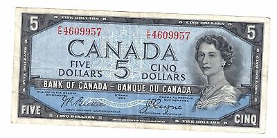 1954 Bank Of Canada Five 5 Dollar Devils Face Bank Note