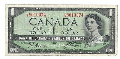 1954 Bank Of Canada 1 Dollar Devils Face Bank Note