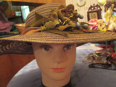 Vintage Wide brim hat shades of brown with olive velvet ribbon leaves & berries