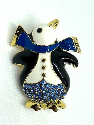 "penguin Brooch pin blue rhinestones 1.25""""x1.75"" GIFT gift gold tone #1A"