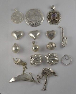 16pc Sterling Silver Jewelry Lot Pin Earrings Pendant Brooch Flamingo Heart 193g