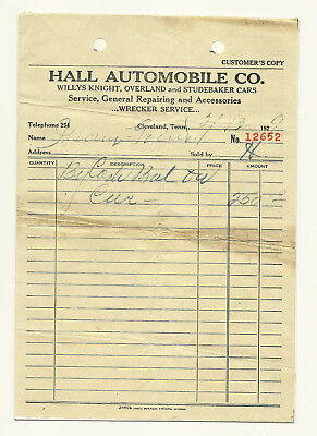 1929 Car Purchase Receipt, Sales For Willys Knight, Overland & Studebaker
