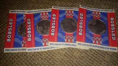 Lot of 4 1998 Nagano USA Olympic Coins Medals General Mills Sponser Bobsled