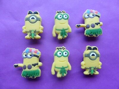 6 Hawaiian Despicable Me Minions jibbitz croc shoe charms cake toppers