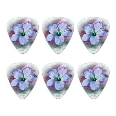 Tropical Blue Hibiscus Hawaiian Bloom Novelty Guitar Picks Medium - Set of 6