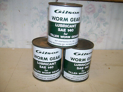 3 vintage nos gilson worm gear lubricant 8oz cans for tillers sold at wards