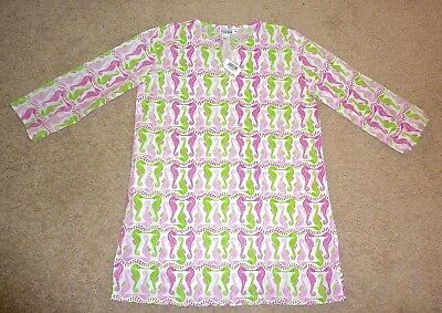 NWT Top It Off Lexi York Pink & Green Seahorse Tunic Top M/L