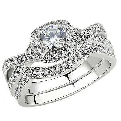 Stainless Steel Women's Infinity Wedding Ring Set Halo Round Cut Cubic Zirconia
